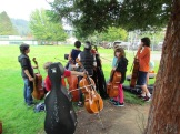 Cello students warming up